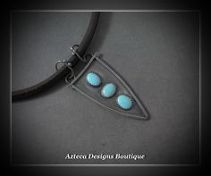 Warrior~ Persian Turquoise Sterling Silver Leather Artisan Fabricated Choker Necklace  by AztecaDesignsBoutique, $285.00 USD