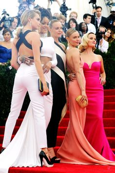 Met Ball 2014   Cara Delevingne, Rihanna, Stella McCartney, Kate Bosworth and Reese Witherspoon - all wearing Stella McCartney.