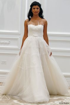 anne barge couture bridal spring 2016 promenade tulle wedding dress bateau sabrina illusion neckline plaid tulle architectural beading runway