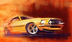 69 Mustang Mach 1 in Hot Rod art by Dwayne Vance