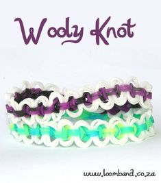 Wooly knot Loom Band Bracelet Tutorial, instructions and videos on hundreds of loom band designs. Shop online for all your looming supplies, delivery anywhere in SA.