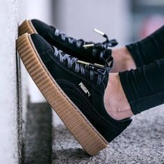 Rihanna Puma X Fenty Creepers Like new Rihanna Puma X Fenty Creepers they don't come with original black/oatmeal box but they do come with box puma x fenty box. 100% authentic. Women's size 7.5 and fit true to size! Love these but I wear my black and white ones more and would rather these go to someone who will get more use out of them cheaper on Ⓜ️ercari bundle to save more NO TRADES! PRICE IS FIRM ON HERE! Puma Shoes Sneakers
