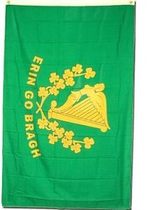 """Erin Go Bragh Flag 3x5 3 x 5 NEW IRELAND IRISH Banner by SHOPZEUS. $4.38. Double sewn edges for durability. Includes 2 Brass grommets for hanging!. Brand new 3' x 5' (36"""" x 60"""") Polyester Erin Go Bragh flag. Lightweight and great for hanging inside and out doors. 3 x 5 ft Polyester flag with 2 brass grommets.  These polyester flags not recommended for prolonged outdoor use. For outdoor use, we recommend our nylon flags.. Save 71% Off!"""