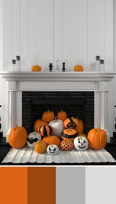 Take pumpkin decorations to the next level by piling them up in the fireplace! Use black, white, and silver paint to make the pumpkins extra spooky and festive! For more decor and design inspiration - bhgrelife.com