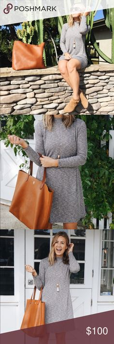"""Madewell Mockneck Swing Dress Purchased Final Sale so couldn't return. Ended up being too small/short. I'm 5'9"""". As seen on Natalie Borton! Madewell Dresses Long Sleeve"""