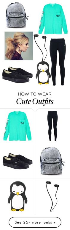 """Exam final outfit"" by supernatural1967 on Polyvore featuring NIKE, Victoria's Secret, Vans and MANGO"