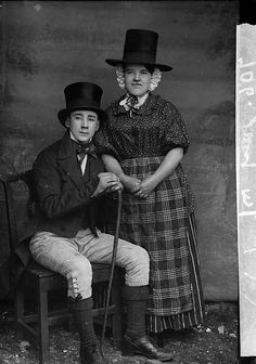 A man and a woman in national dress (Jones). Source: LlGC ~ NLW (Llyfrgell Genedlaethol Cymru/National Library of Wales) on Flickr.    John Thomas, ca. 1885.