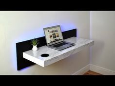 This is the perfect dream desk for anyone looking to save space in a stylish fashion. This is a wall mounted with a few built-in items. Starting with the back p… Home Room Design, House Design, Diy Computer Desk, Gaming Desk, Study Table Designs, Modern Tv Wall Units, Dream Desk, Wall Mounted Desk, Desk Inspiration