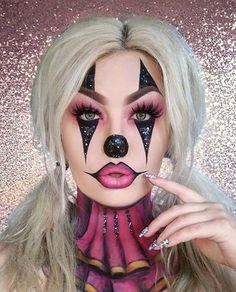 Bildergebnis für Horror-Harlekin-Make-up - Schminkanleitungen - halloween art Maquillage Halloween Clown, Halloween Makeup Clown, Halloween Inspo, Halloween Looks, Cute Clown Makeup, Womens Clown Makeup, Clown Costume Women, Circus Halloween Costumes, Clown Costumes