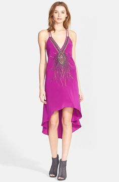 Haute Hippie Embellished High/Low Silk Dress available at #Nordstrom