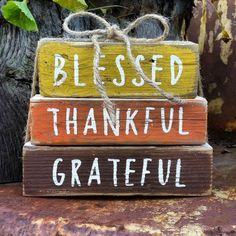 Wooden Fall Stackable Blocks Home Decor Fall home decor Harvest Decor Thankful Blessed Grateful
