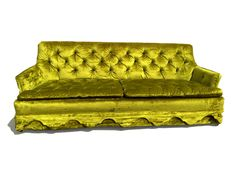 """Ahhhhhh-mazing sofa. Really and truly, even the most magnificent of photographs cannot properly convey this 1960s tufted chartreuse beauty's awesomeness. A cozy tufted tightback with two seat cushions attached to the foundation, which is ingenious, as you avoid that whole """"messy loose cushions"""" situation but you get the aesthetic of two individual seat cushions versus a bench seat.  This is the original upholstery and is in incredible vintage condition - no wear or tear - as this sofa was…"""