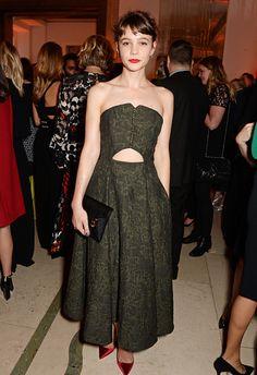 Actress Carey Mulligan in ERDEM outfit Spring 2015 at Harper`s Bazaar Party