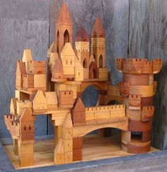handmade wooden toy castle building blocks