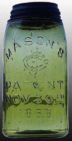 Mason's, CFJ, Patent Nov 30th 1858, Green, QuartA quart deep green Mason's CFJ Patent Nov