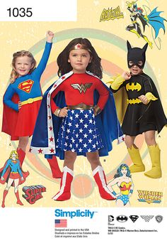d.c. comics super hero costumes for children: wonder women, supergirl
