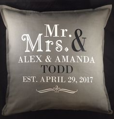 Mr and Mrs Personalized Wedding Pillow 20 x 20 by SweetBerryGifts