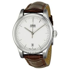 Oris Classic Date Silver Dial Dark Brown Leather Mens Watch 733-7578-4051LS  $729