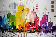 New city scape Texture Painting On Canvas, Cityscape Art, City Painting, Art Abstrait, Elements Of Art, Large Art, Painting Inspiration, Collage Art, Creative Art