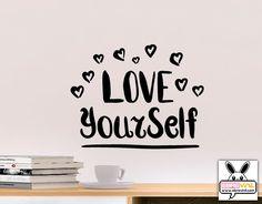 """Vinilo decorativo de texto pared """"Love your self"""" 05153"""