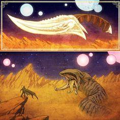 Some Dune fanart I did back in 2012-2013. Both of these were shown at various @herocomplexgallery shows.  #dune #fanart #frankherbert #sandworm #crysknife #throwbackthursday #throwbackart  #bookart #art #artistforhire #freelanceartist