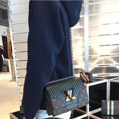 Louis Vuitton Monogram Canvas Black Studded Twist Bag - Pre-Fall 2016 ed028400b5b00