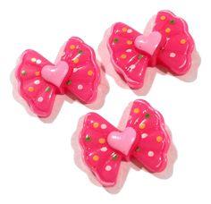 Hot pink polka dot bow resin cabochon 18x16mm / 1-5 pieces