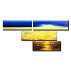 Hand-painted Landscape Oil Painting with Stretched Frame - Set of 4 - OutletsArt.com