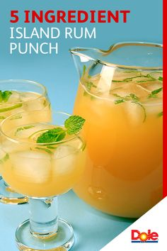 5 Ingredient Island Rum Punch - Set sail for the islands with this refreshing Island Rum Punch. Simply combine pineapple juice, rum, sugar, lime juice and chopped mint in a large punch bowl – serve and enjoy! Discover more delicious uses for DOLE® Canned Party Drinks, Cocktail Drinks, Fun Drinks, Mixed Drinks, Cocktail Recipes, Alcoholic Drinks, Beverages, Cocktail Ideas, Punch Recipes
