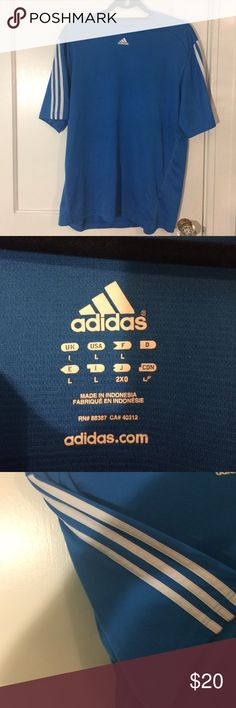Blue Adidas Athletic Shirt This shirt is perfect for any season! Good condition and very comfortable. Adidas Shirts Tees - Short Sleeve