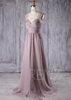 23eaf1626f Bridesmaid Dress Rose Gray Chiffon Dress Wedding Dress Ruched V Neck Prom  Dress Illusion Lace Open Back Party Dress A-Line Maxi Dress(L230A)