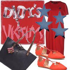 Un semplicissimo vestito rosso da indossare con delle ballerine sempre rosse , orecchini pendenti a forma di stella . Sulle spalle, al collo o annodato alla borsa un prezioso foulard rosso di Dior