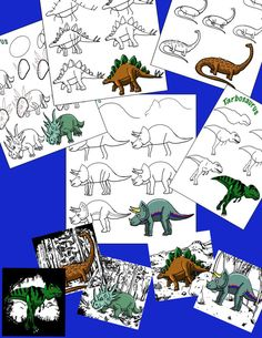 5-pages How to Draw Dinosaurs A by AlexIllustrationsArt on Etsy