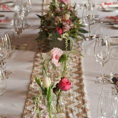 Champagne & Cream chevron sequin table runner auckland hire
