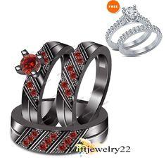 His & Hers 1.48 CT. Garnet Wedding Band Engagement Bridal Rings 3Pcs Trio Sets #giftjewelry22 #WeddingEngagementAnniversaryBrithdayPartyGift