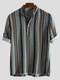 Half Sleeve Shirts, Short Sleeve Blouse, Half Sleeves, Short Sleeves, Collar Shirts, Shirt Blouses, Mens Printed Shirts, Men Shirts, Camisa Vintage