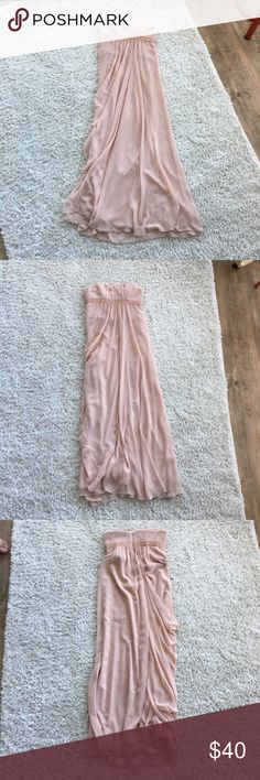 BCBG pink empire waist strapless bridesmaid gown BCBG pink empire waist strapless bridesmaid gown.  Floor and maxi length.  Worn once.  Please note the bottom part of the dress is a little dirty but can be taken to get it dry cleaned out.  Gorgeous, flowy gown perfect for a wedding as a party or a guest!  Pink chiffon material, gathers on the side. BCBG Dresses Strapless