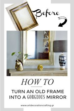 How to turn an old frame into a gorgeous mirror Chalk Paint Projects, Old Frames, Diy Home Decor, Gallery Wall, Crafty, Room, Painting, Mirrors, Furniture