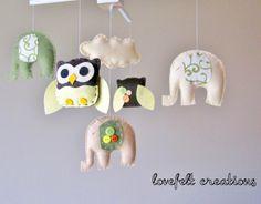 OMG owls and elephants @Kasey Fanucchi Baby crib mobile