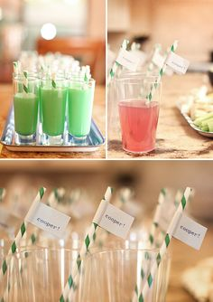 Baby name tags on straws for baby shower