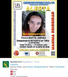 La Guardia Civil pide la colaboración para la localización de una menor desaparecida en las Palmas ...