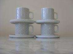Vintage Melitta Germany Cups & Saucers Set of 4 Vintage Mid Century Modern Fine Porcelain White Black Modern German China Modern Modern Decor, Mid-century Modern, Cup And Saucer Set, Fine Porcelain, Retro Style, Black Stripes, Cups, Germany, Mid Century