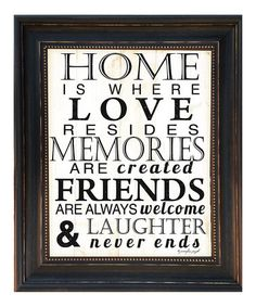 Another great find on #zulily! 'Home Is Where' Framed Wall Art by Karen's Art & Frame #zulilyfinds