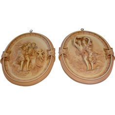 """French Porcelain Pair 14"""" Oval Wall Plaques w Figural Groups Pink & Gold Exquisite c 1890 - 1900"""