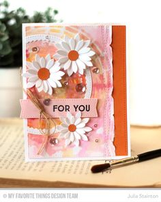 Watercolor Stencil and Daisies card by Julia Stainton for MFT Stamps Sketch Challenge #MFTWSC275