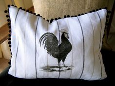 Rooster Pillow Cover Handmade Cottage by fathersdaughtrstudio,