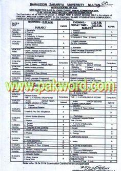 Bahauddin Zakaria University Multan BA BSc Annual Exam 2014 Date Sheet
