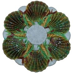 Antique hand painted Majolica Oyster Plate