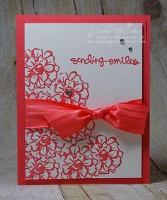 What I Love – www.dreamingaboutrubberstamps.com - This simple monochromatic card was made with the What I Love free Sale-a-bration stamp set from Stampin' Up! and Watermelon Wonder ink, card stock and