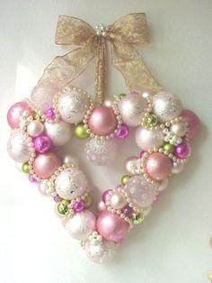 Heart Wreath  ~ pink ornaments & pearls by monkeygirl13
